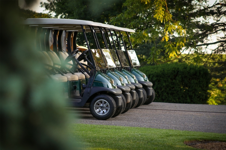 A line of green and tan golf carts sitting on a golf course in the early morning light