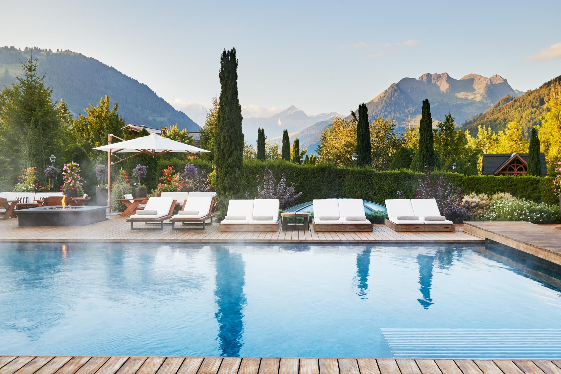 The hotel pool at the Alpina Gstaad