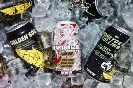 Various canned cocktails from LIveWire, a new boozy RTD line that's attempting to add a rock'n'roll vibe to mixed drinks