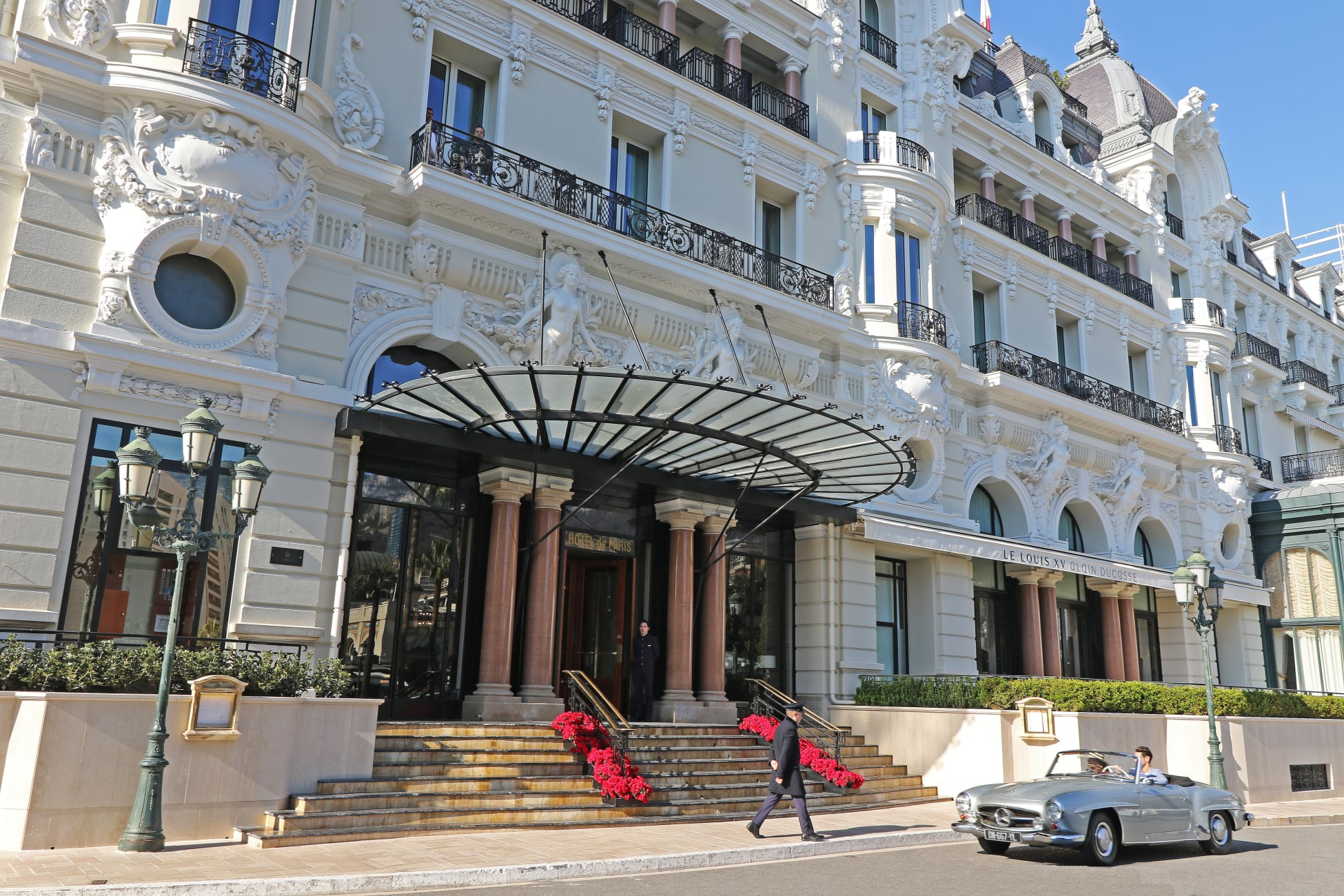 The entrance to the Hotel Paris Monte Carlo.