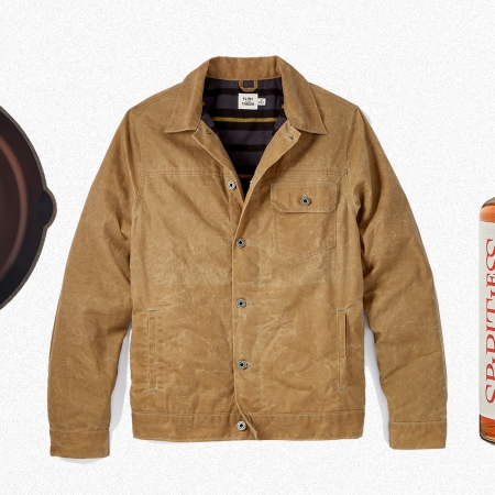 A Smithey cast iron pan, Flint and Tinder's flannel-lined waxed trucker jacket and Kentucky 74 non-alcoholic bourbon from Spiritless
