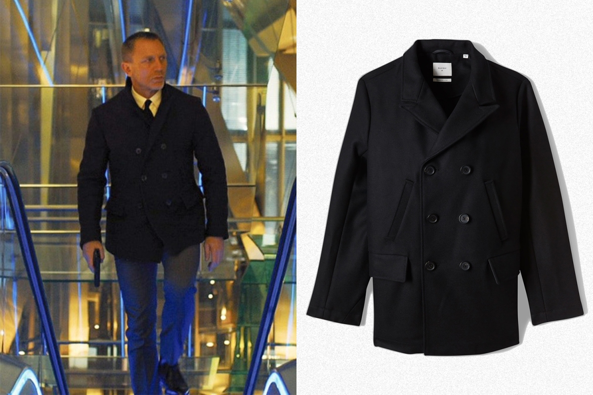 Daniel Craig 007 in the James Bond movie Skyfall on the left, the right is the peacoat he's wearing, the black Bond Peacoat from Billy Reid