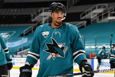 Evander Kane skates onto the ice while facing the Anaheim Ducks. Kane has been suspended 21 games for using a fake Covid-19 vaccination card.