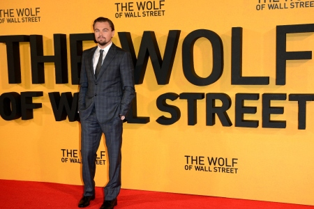 """Leonardo DiCaprio attends the UK Premiere of """"The Wolf Of Wall Street"""" at the Odeon Leicester Square on January 9, 2014 in London, England"""