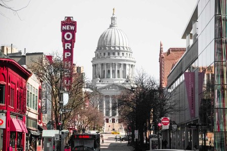 A daytime shot of downtown Madison, WI, which was just named America's most neighborly city