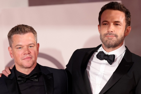 """Ben Affleck and Matt Damon attend the red carpet of the movie """"The Last Duel"""" during the 78th Venice International Film Festival on September 10, 2021 in Venice, Italy"""