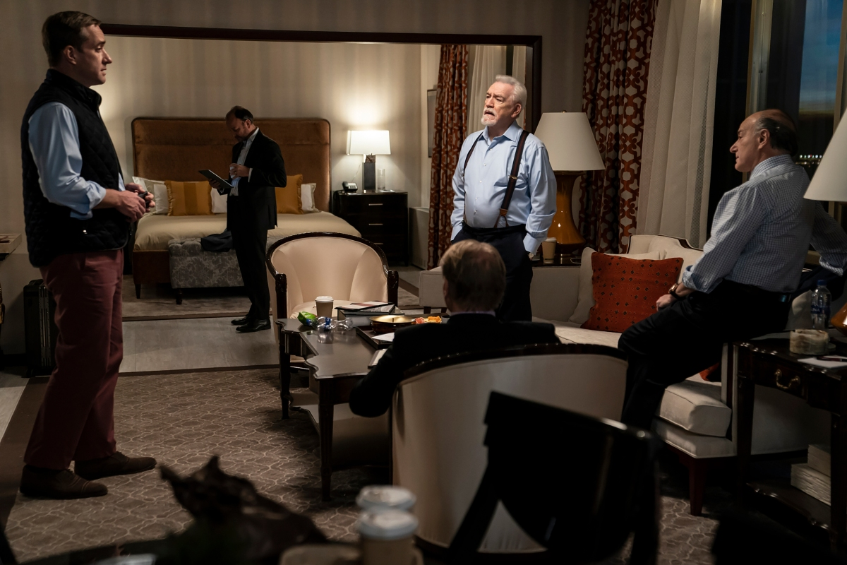 Matthew Macfadyen, Brian Cox and Peter Friedman in season 3 of Succession.