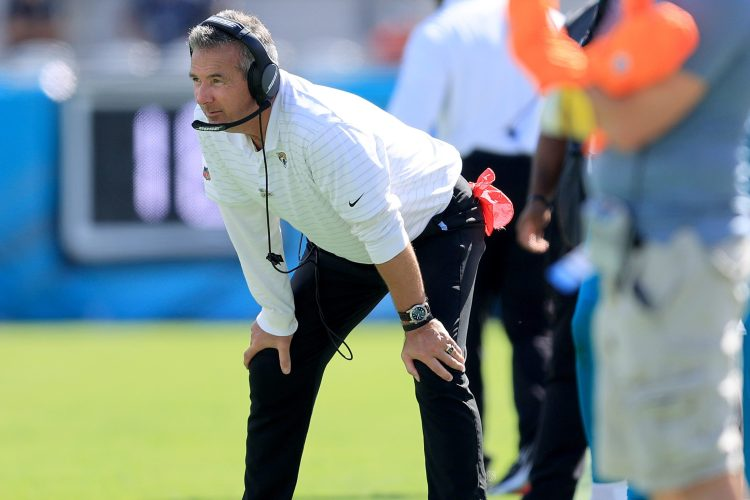 Urban Meyer of the Jacksonville Jaguars watches the action on the field. Meyer equated his first NFL win with winning a college championship.
