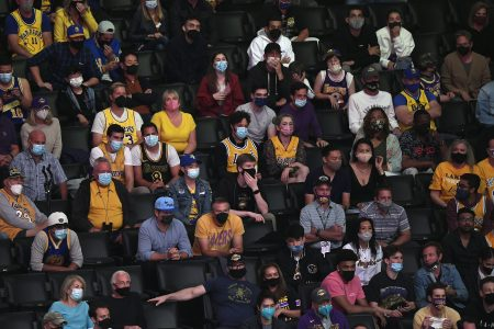 Vaccinated fans in the stands during the NBA Play-In Tournament. This season, the NBA is working to curtail bad fan behavior.
