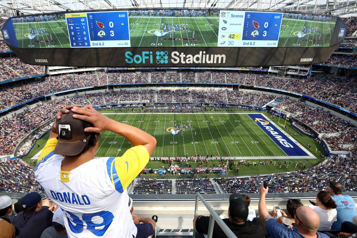 A fan of the Los Angeles Rams reacts to a play. Away teams are actually doing better than home teams this year, a trend that started last year.