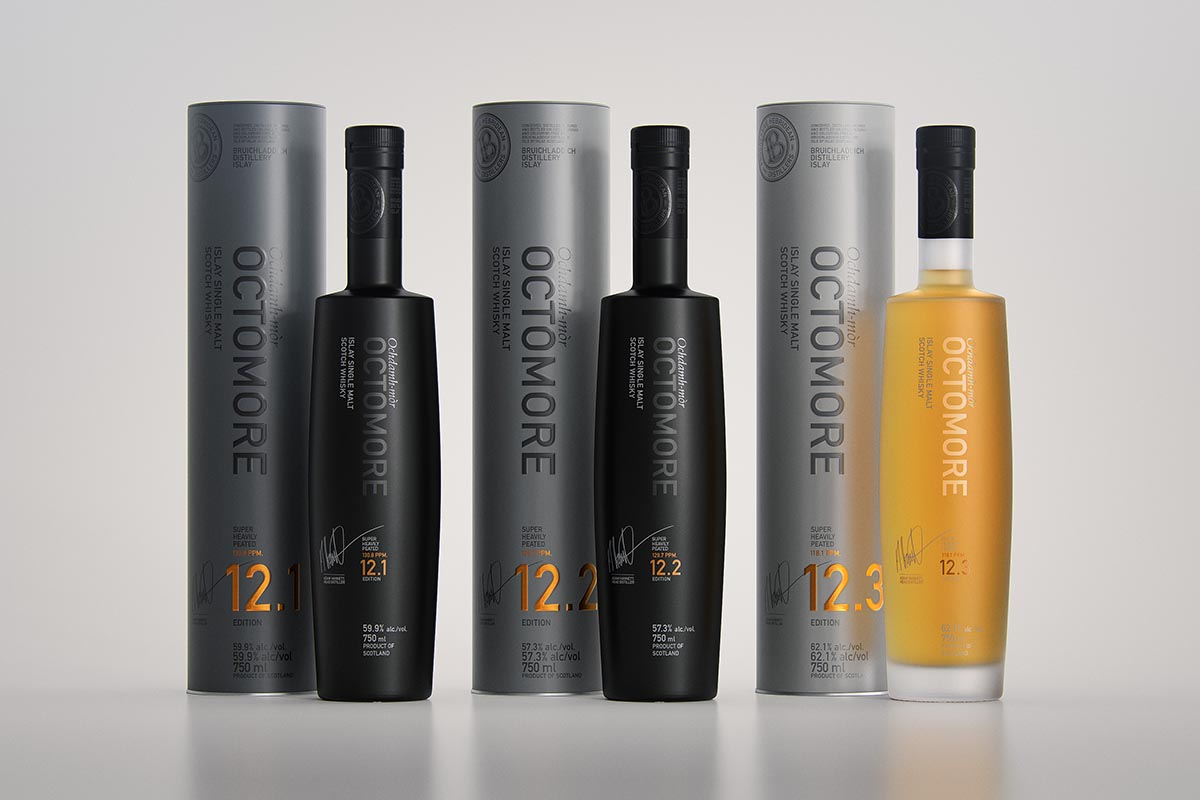 All three new expressions of Octomore (12.1, 12.2, 12.3), out now