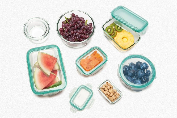 An array of eight glass food storage containers from OXO's Smart Seal line, all on sale through the end of October 2021