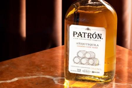 A bottle of Patrón Sherry Cask Añejo, a new trend of aging tequila in different barrels