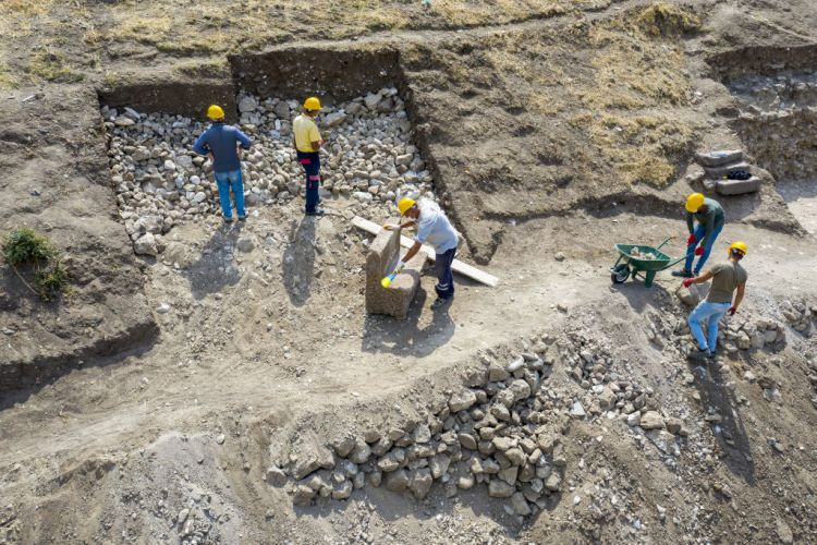 A drone photo shows a view of excavation works in Pergamon Ancient City in Bergama district of Izmir, Turkey