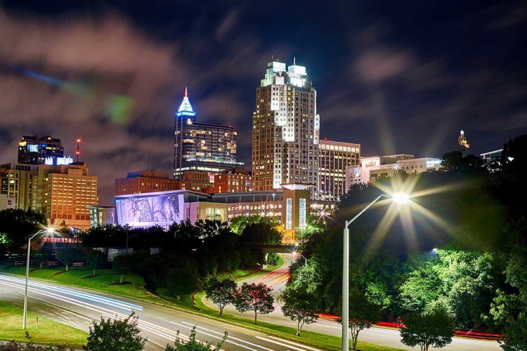 Raleigh at night. The city tops LendingTree's list of best places to start a small business.
