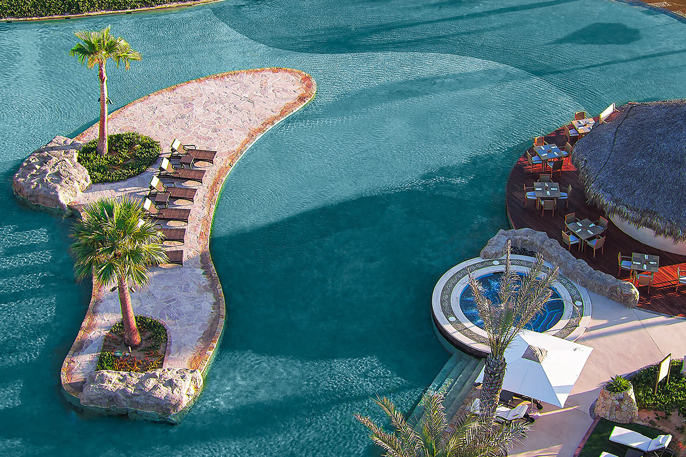 Aerial view of the saltwater lagoon at Rancho San Lucas in Cabo.