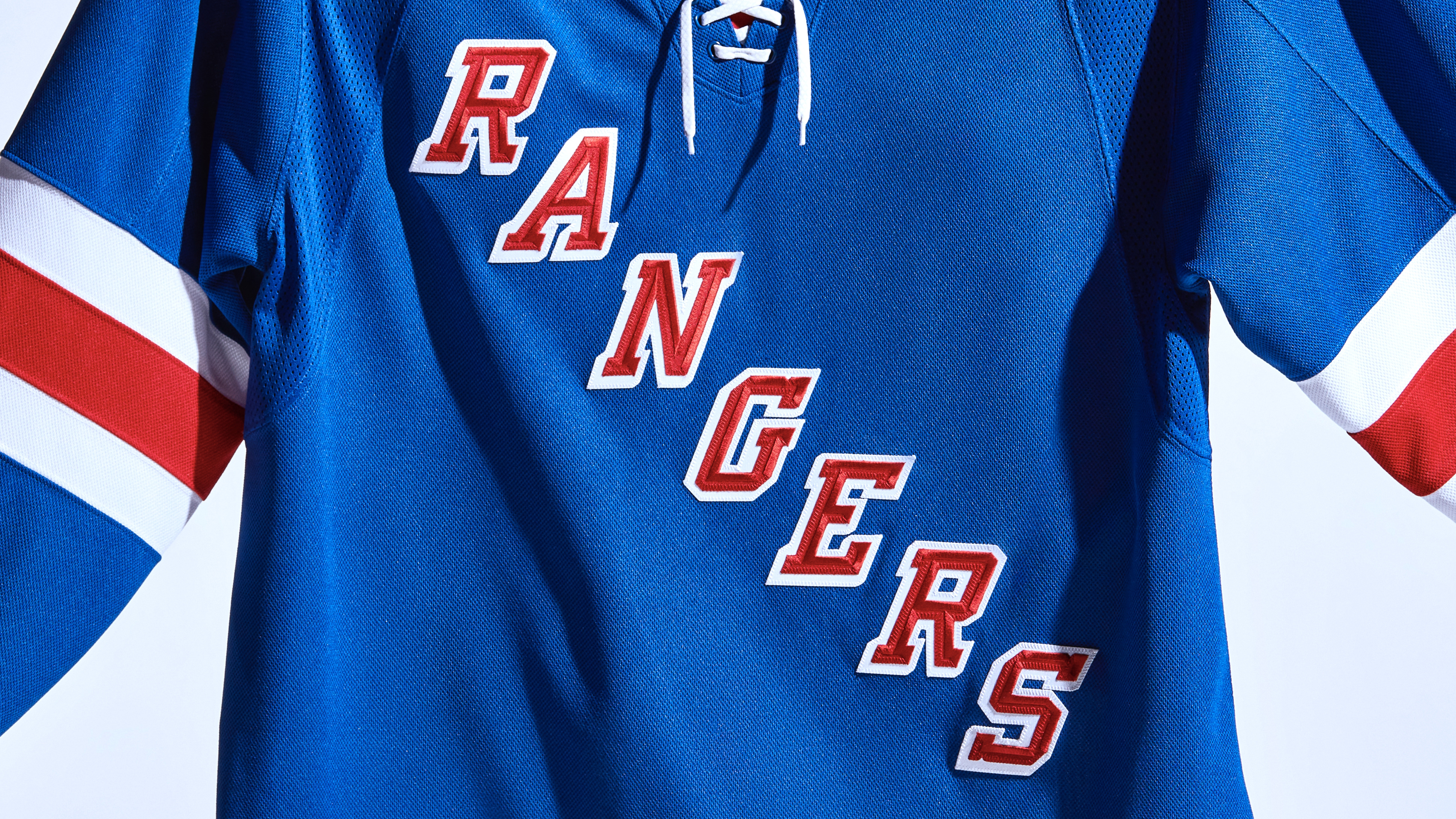 The New York Rangers home blue sweater for the 2021-22 season