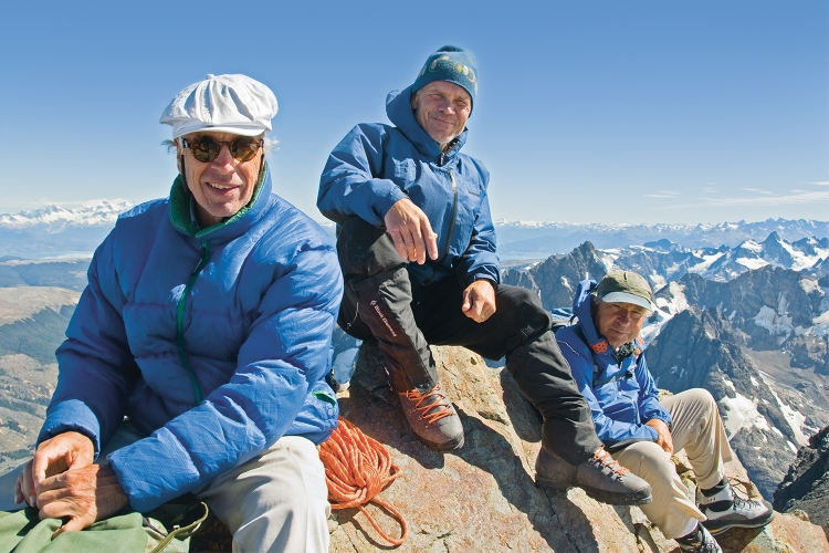 From left to right: Doug Tompkins, Rick Ridgeway and Yvon Chouinard on the summit of a peak in Chile in 2008, which would go on to become part of Patagonia National Park