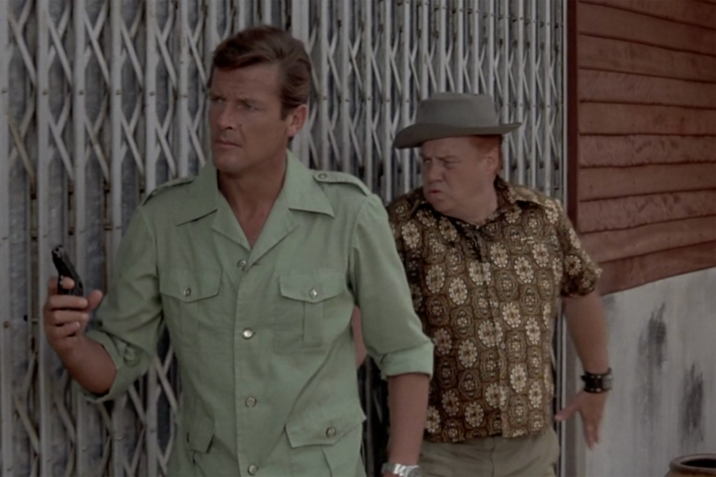 In Man with the Golden Gun, Moore wears a safari jacket, made by Hong Kong tailor Jimmy Chen.