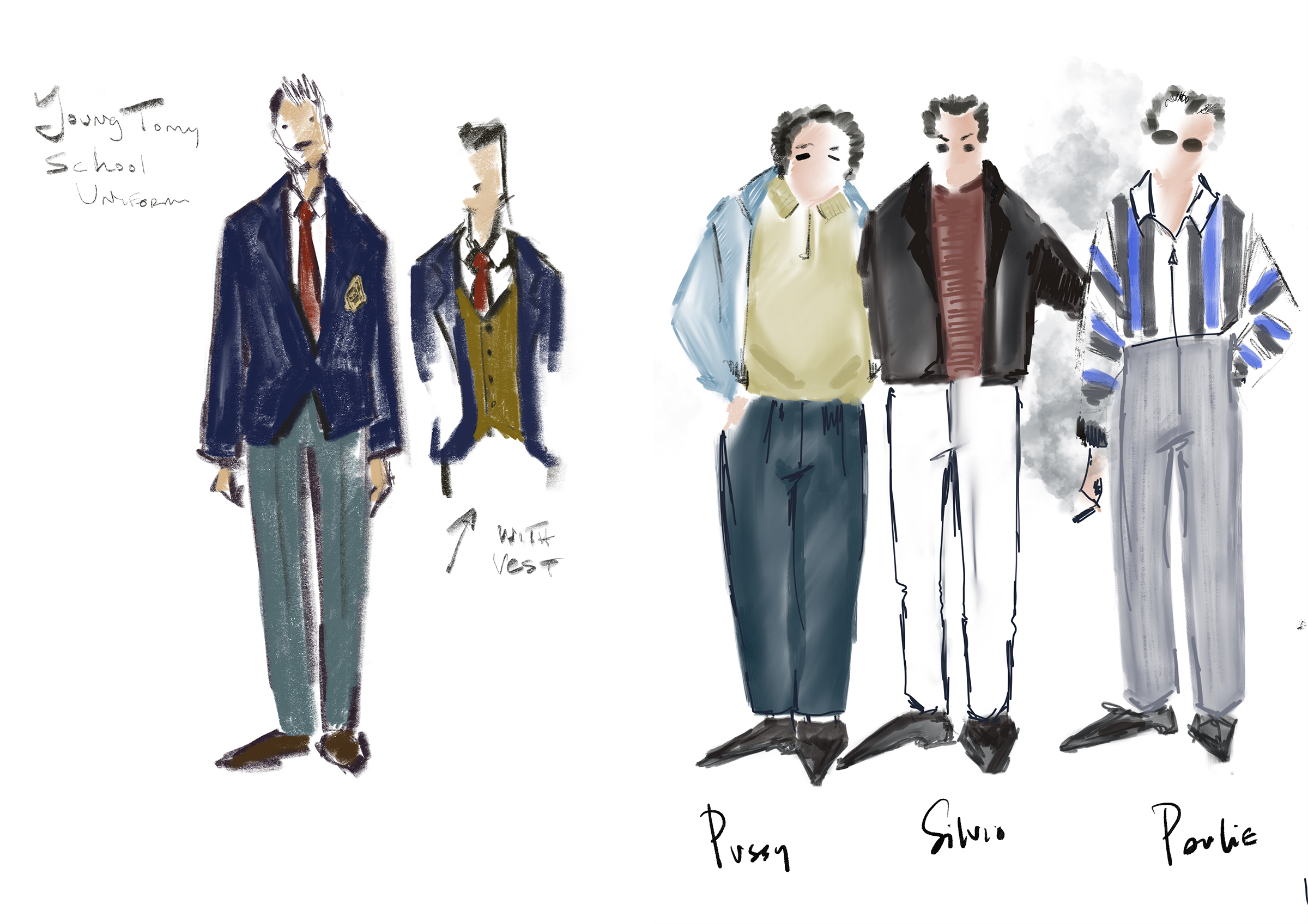 """Amy Wescott's sketches for """"The Many Saints of Newark"""""""