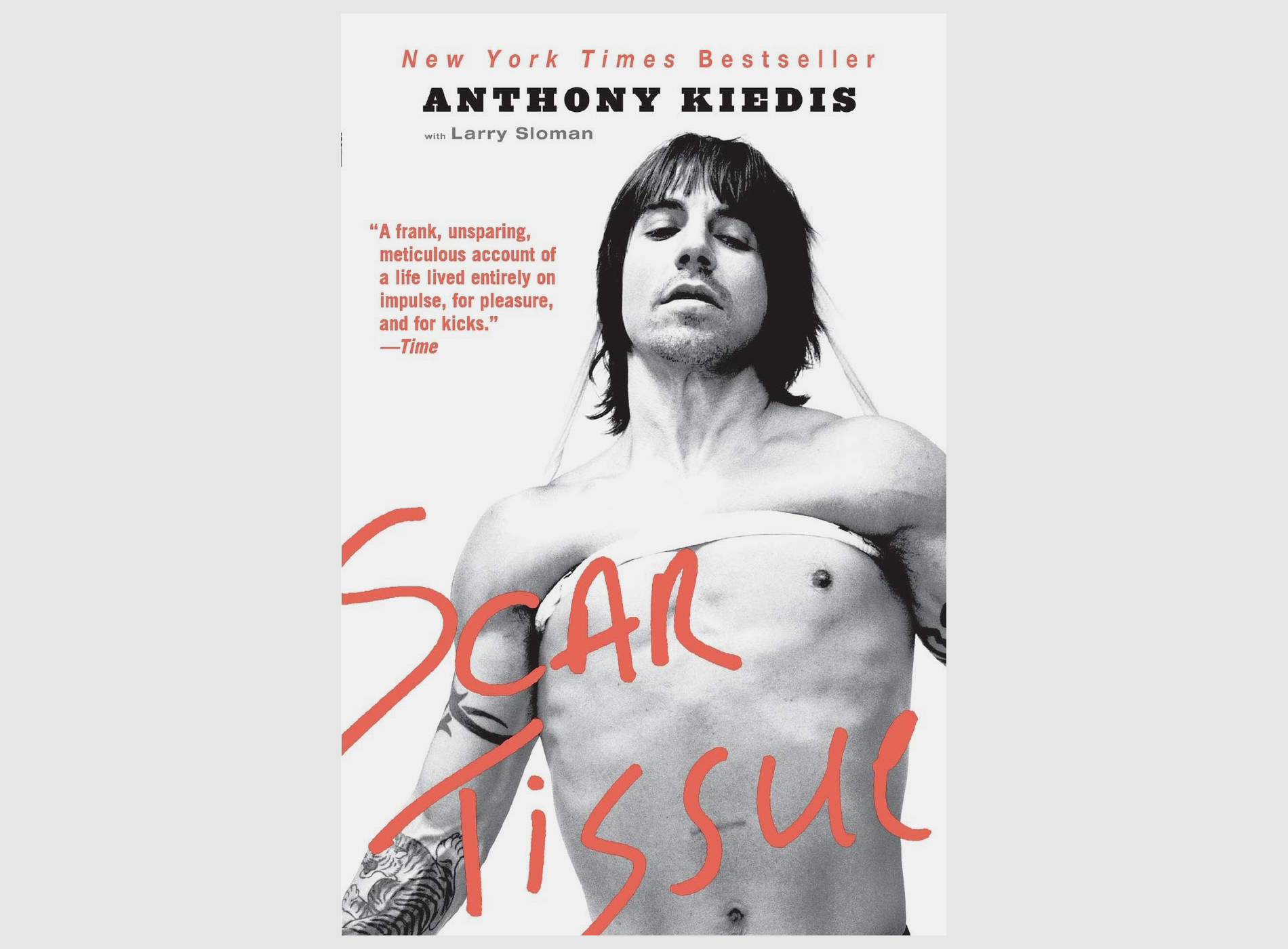 """The book cover of """"Scar Tissue,"""" the autobiography by Red Hot Chili Peppers singer Anthony Kiedis"""