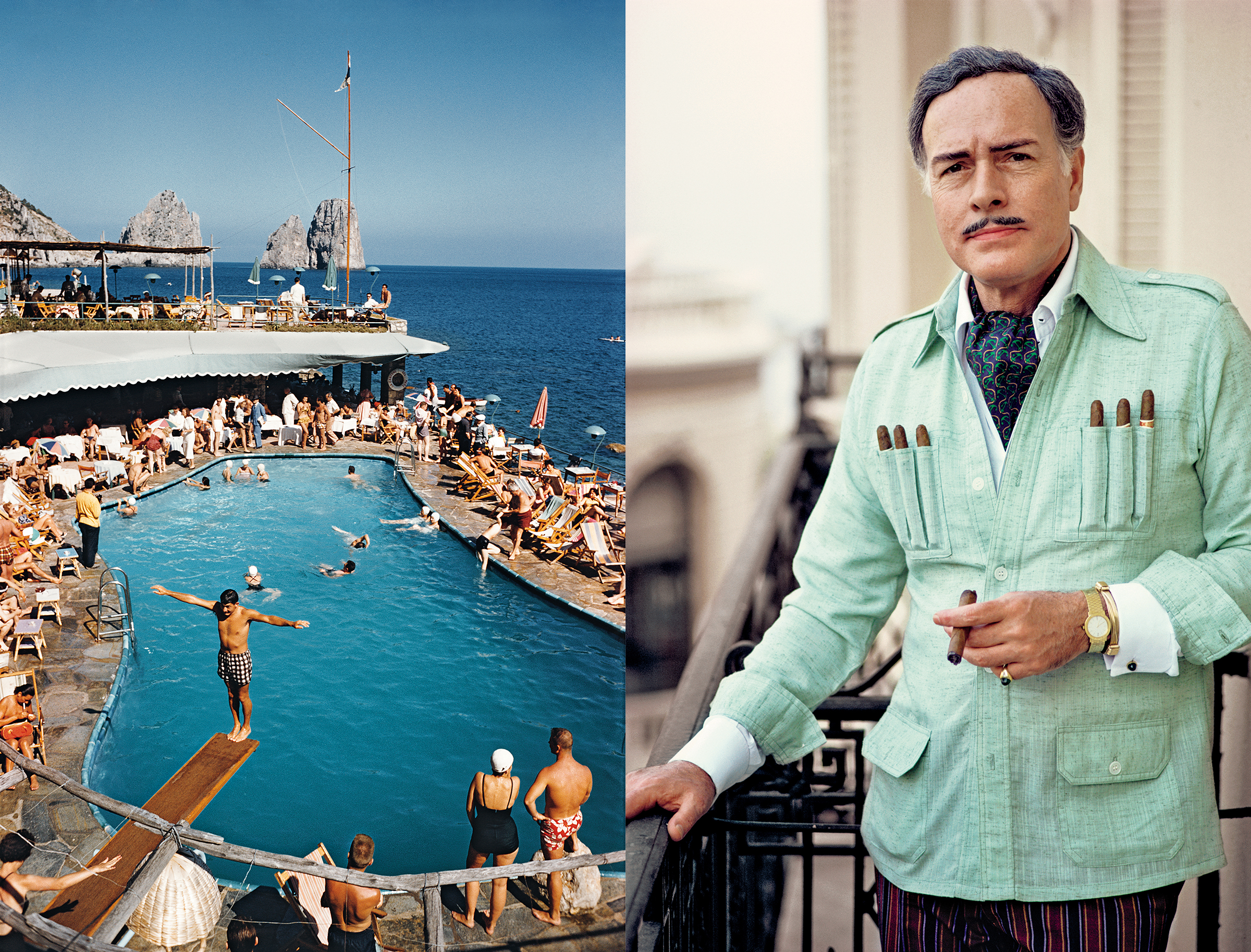 Two photos by Slim Aarons: one of a man jumping off a diving board at a party, and one of a wealthy man in a guayabera shirt smoking a cigar