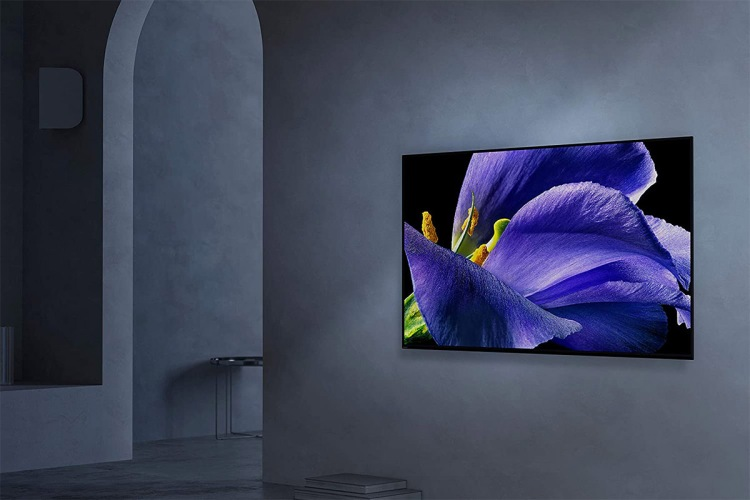 Sony XBR-65A9G 65-inch TV hanging on a wall -- the high-end set is currently at its lowest price ever