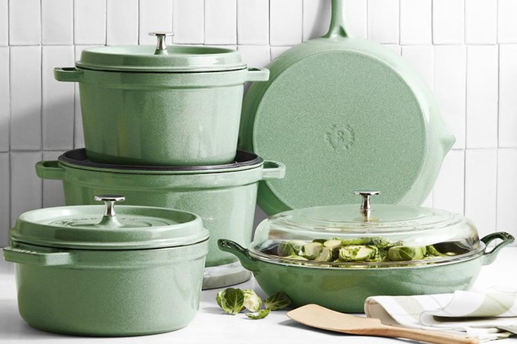 Various cast iron pots and pans from Staub, now on sale at Williams Sonoma