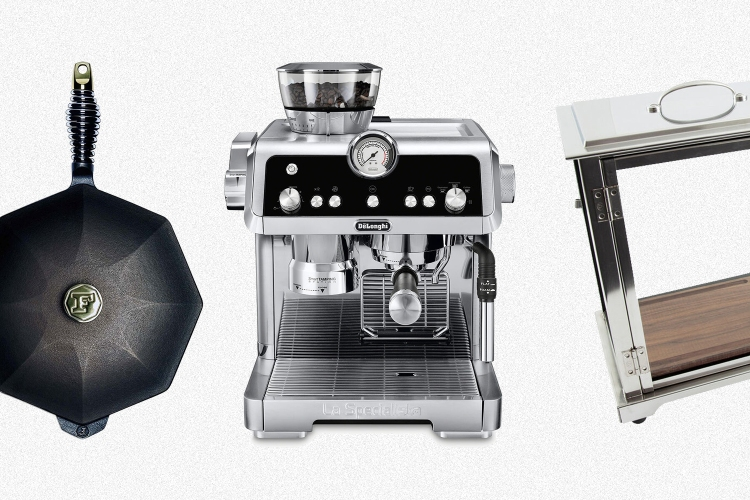 A Finex cast iron skillet, De'Longhi espresso machine and Crafthouse by Fortessa cocktail smoker, all of which are on sale at Sur La Table